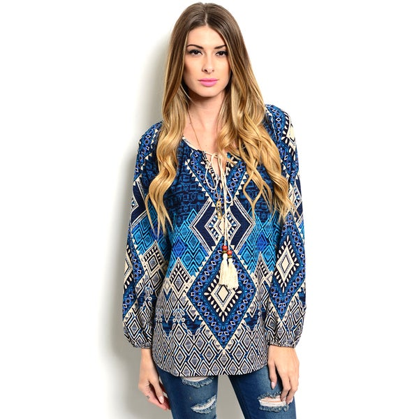 Shop the Trends Women's Long Sleeve Allover Tribal Top With Rounded Neckline