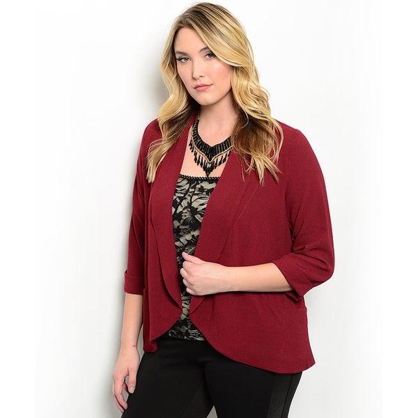 Shop the Trends Women's Plus Size 3/4 Sleeve Woven Open Blazer