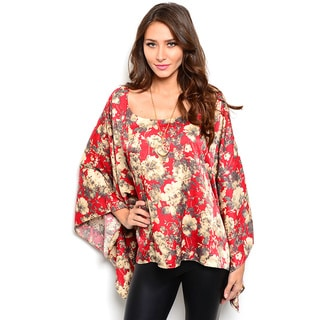 Shop the Trends Women's Long Batwing Sleeve Top With Rounded Neckline And Allover Floral Print