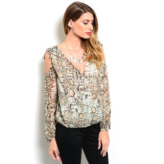 Shop the Trends Women's Long Sleeve Allover Reptile Print Top And Open Shoulders Design