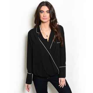 Shop the Trends Women's Long Sleeve Contrast Colored Trim V-Neckline Blouse