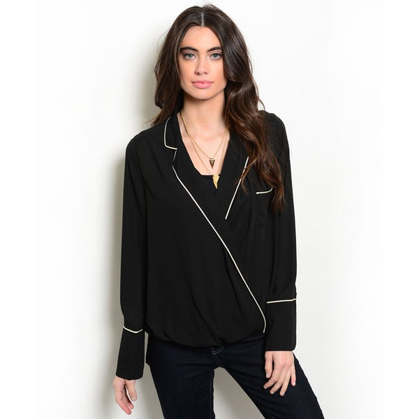 Shop the Trends Women's Long Sleeve Contrast Colored Trim V-Neckline Blouse