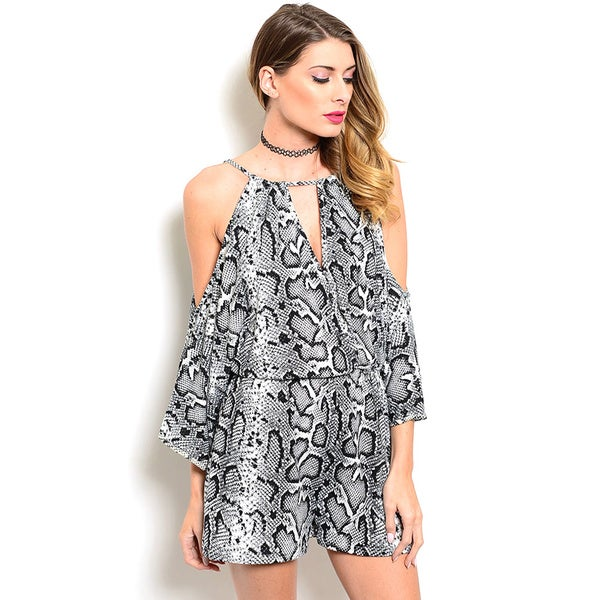 Shop the Trends Women's Long Sleeve Allover Snake Print Woven Romper