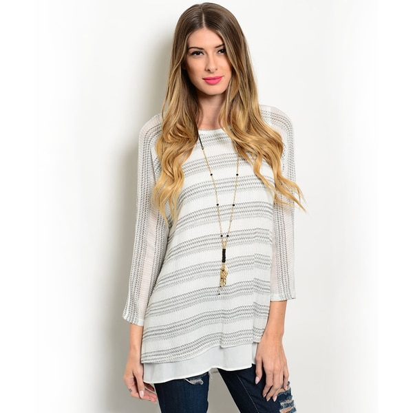 Shop the Trends Women's 3/4 Sleeve Stripe Print Crew Neck Top