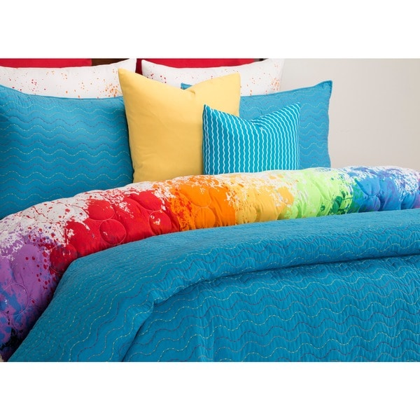 Crayola Stitched Cerulean Quilted 3 Piece Coverlet Set