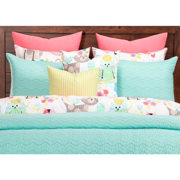 Crayola Stitched Robin's Egg Blue Quilted Coverlet Set