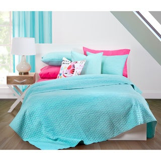 Crayola Stitched Robin's Egg Blue 3-piece Quilted Coverlet Set
