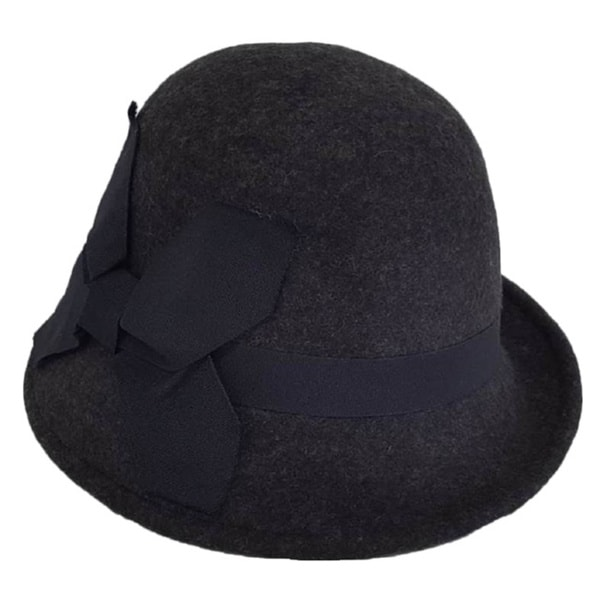Hatch Women's Profile Double Grosgrain Bow Wool Felt Cloche Hat