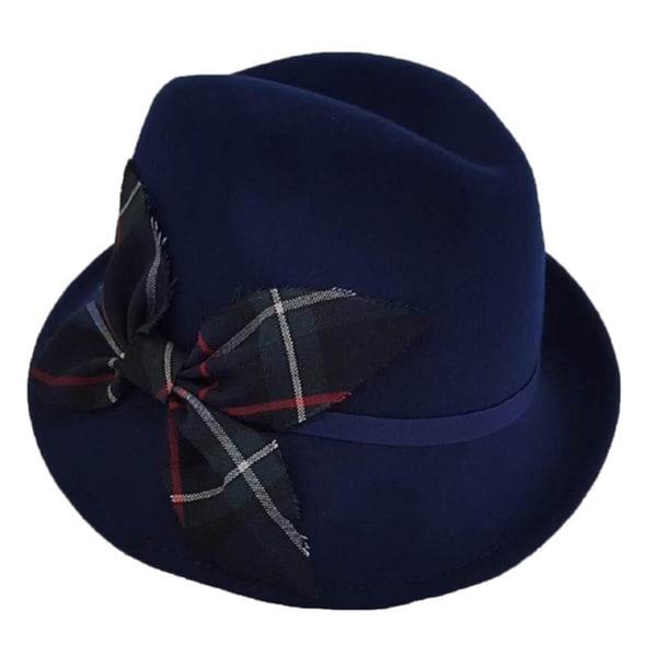 Hatch Women's Plaid Flipped Up Brim Wool Felt Cloche Hat