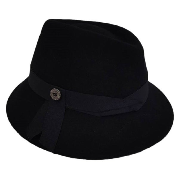 Hatch Women's Stitched with Slanted Top Wool Felt Fedora Hat