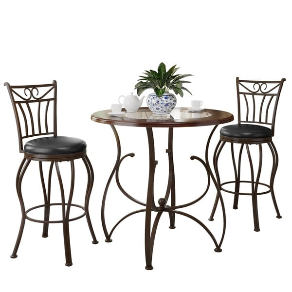 CorLiving Jericho 3-piece Counter Height Barstool and Bistro Table Set