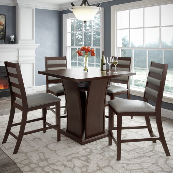"CorLiving DWP-390-Z3 Bistro 5pc 36"" Counter Height Rich Cappuccino Dining Set - Platinum Sage"