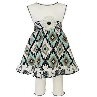 Ann Loren Girl's Boutique Dress and Legging Capri Outift