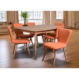 Dalia Tangerine Mid-Century 7-piece Living Room Dining Set
