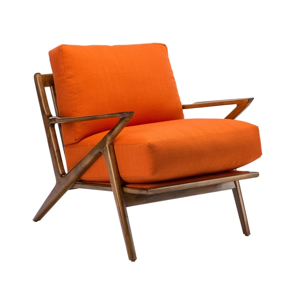 Zeke Walnut Frame Armchair with Orange Cushion