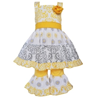 Ann Loren Girls Boutique Yellow and Grey Damask Dots Dress Outfit