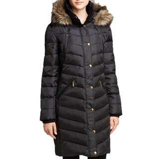 Michael Michael Kors Women's Black Ruched Down Puffer Coat