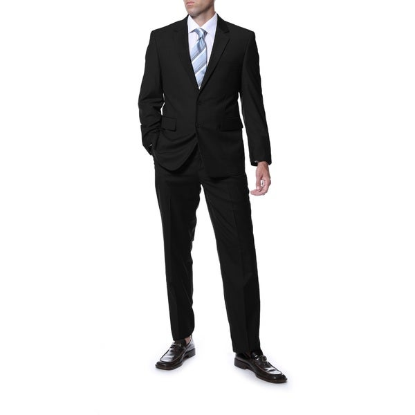 Ferrecci Men's Premium 'Derek' Black Regular Fit Wool 2-Piece Suit