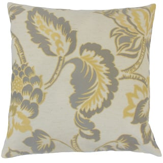 Rhynisha Floral Feather and Down Filled 18-inch Throw Pillow Lemon