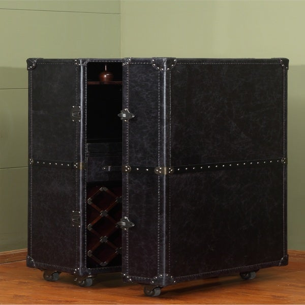 Lazzaro Leather Meomi Small Leather WIne Cabinet