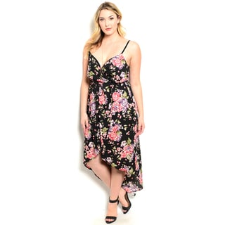 Shop the Trends Women's Plus Size Allover Floral Print Spaghetti Strap Dress With Hi-Low Hem