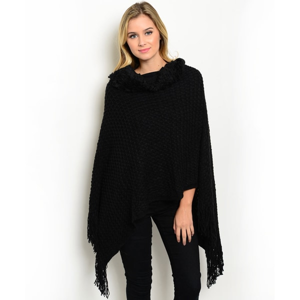 Women's Thick Knitted Pullover Plush Foldover Neck Fringe Trim Poncho