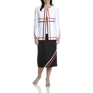 Ella Belle Women's 3-Piece Ribbon Stripe Skirt Suit