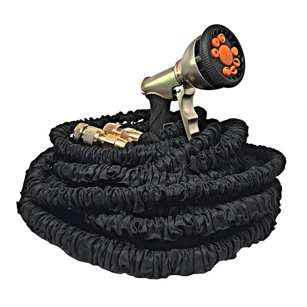 100 Feet Extra Durable Expandable Black Garden Water Hose with Triple Latex Core Brass Fittings and Free 9-function Sprayer