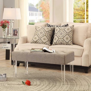 Convenience Concepts Designs4Comfort Acrylic Leg Bench Ottoman