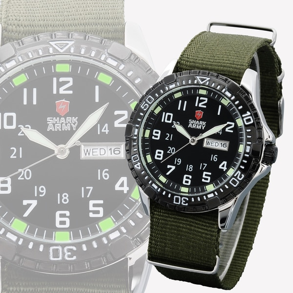 SHARK Army Mens Stainless Steel with Green Nylon Band Military Sport Watch