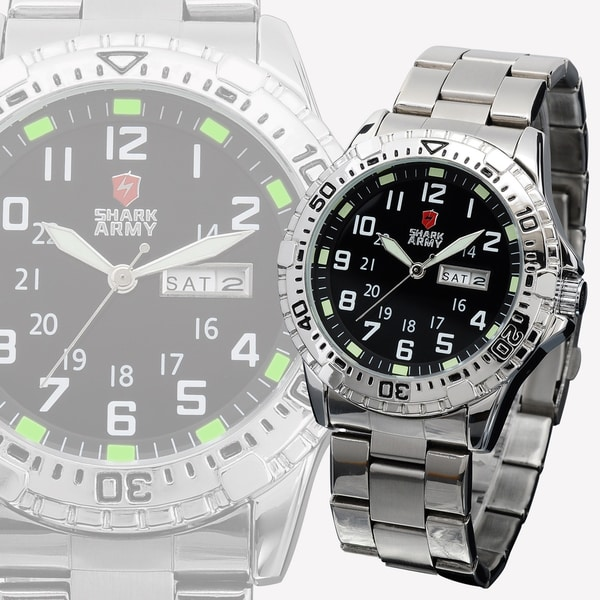 SHARK Army Mens Date Day Luminous Stainless Steel Military Sport Quartz Watch