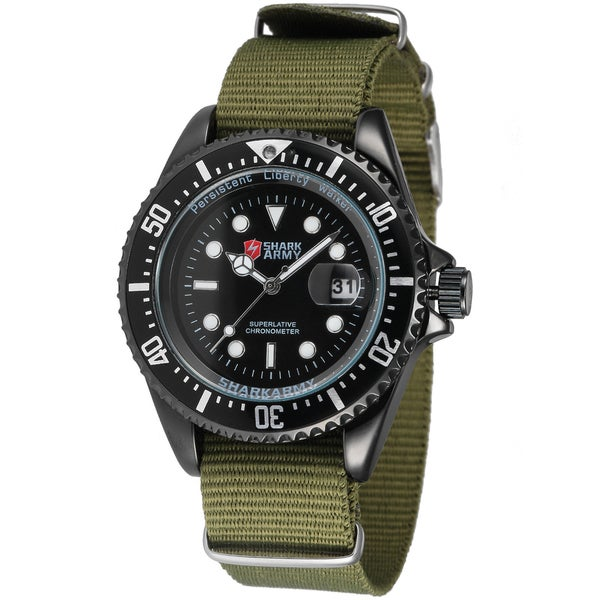 SHARK Army Mens 42mm Stainless Steel Green Nylon Band Military Sport Quartz Watch