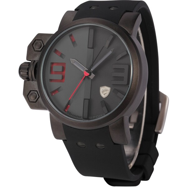 SHARK Army Mens Black/ Red 3D Dial Water-resistant Silicone Band Watch