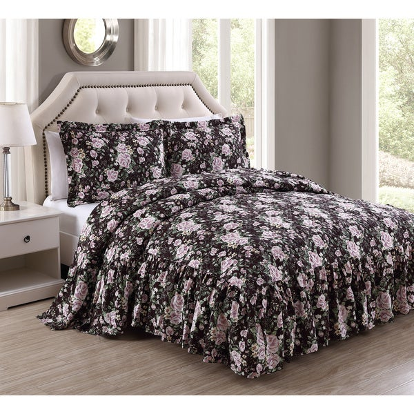 Rosanne 3-piece Antique Rose Bedspread Set