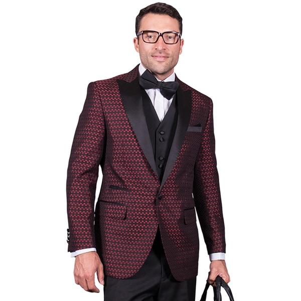 Men's Natalie-3 Red Statement 3-piece Tuxedo Suit
