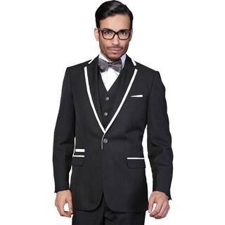 Men's Wool Statement Venetian Black 3-piece Tuxedo Suit