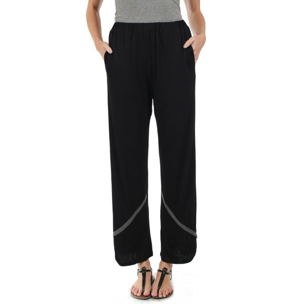 Firmiana Women's Black Long Pants with Grey Stripe Accent