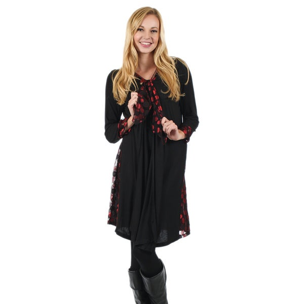 Firmiana Women's Long Sleeve Black/ Red Open Duster