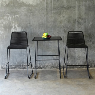 Mia Industrial Chic Indoor Outdoor Pub Table and Bar Stools Three Piece Set