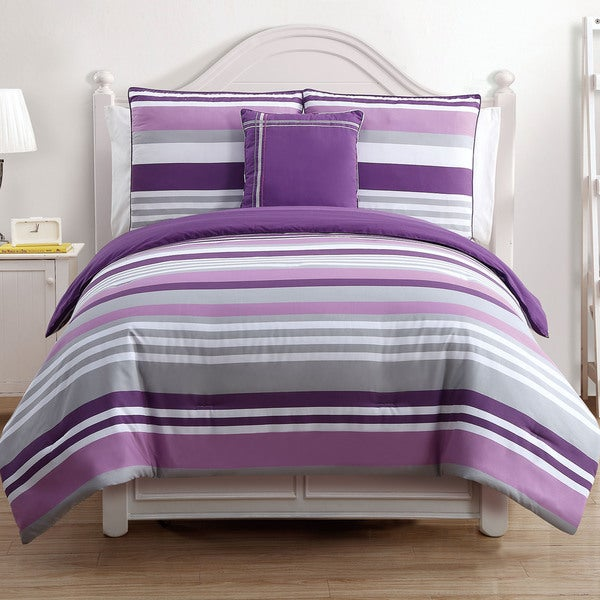 VCNY Ava Purple Stripe Reversible 4-piece Full/ Queen Size Cotton Comforter Set (As Is Item)