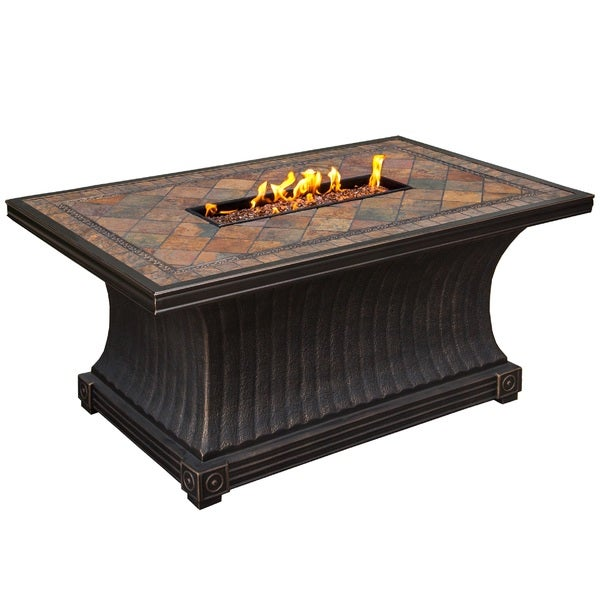 Florence Rectangular Slate Topped Gas Firepit Table with Red Lava Rock Strip Burner and Weather Cover