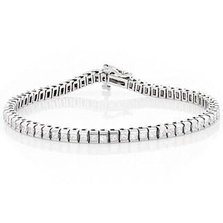 Luxurman 14k Gold 5ct TDW Princess Cut Diamond Tennis Bracelet ( G-H, VS-SI )