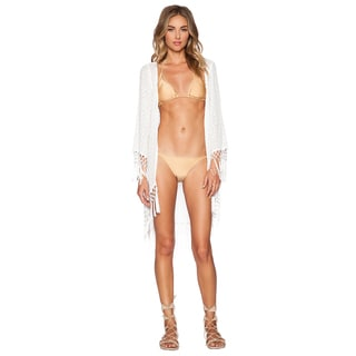 PilyQ Lauren Keshi Pearl White Fringe Edge Cover-up
