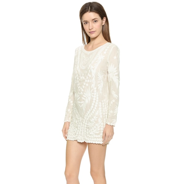 PilyQ Jane White Embroidered Sheer Cover-up