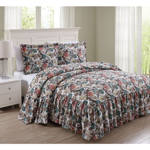 Bonnie 3-piece Antique Floral Bedspread Set