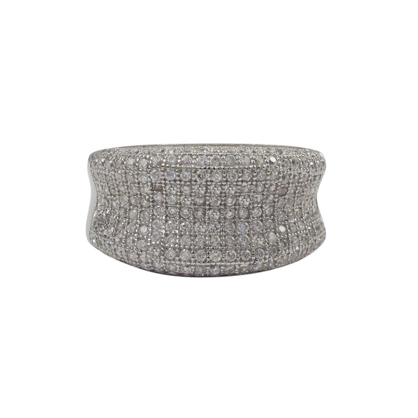 Sterling Silver Micropave Cubic Zirconia Statement Ring