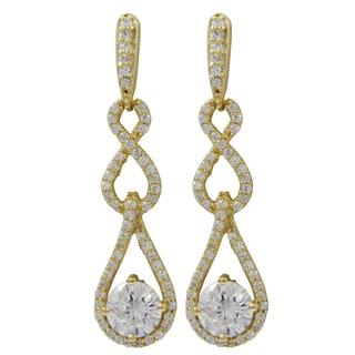 Gold Finish Sterling Silver Cubic Zirconia Infinity Teardrop Dangle Earrings