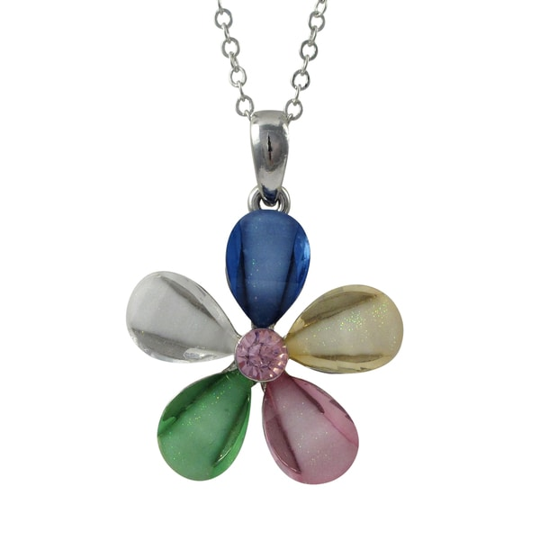 Rhodium Finish Pink Crystal Glitter Flower Pendant Necklace