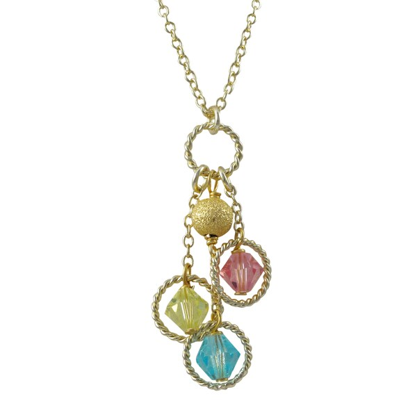 Gold Finish Multi-color Beads Floating Circle Pendant Necklace