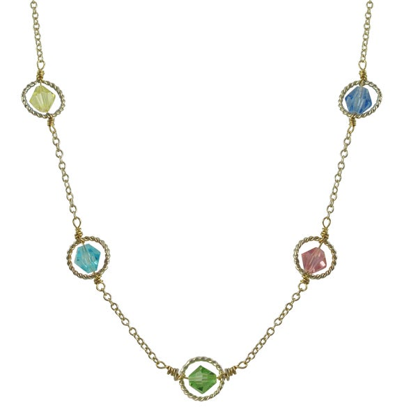 Gold Finish Multi-color Beads Floating Circle Station Necklace